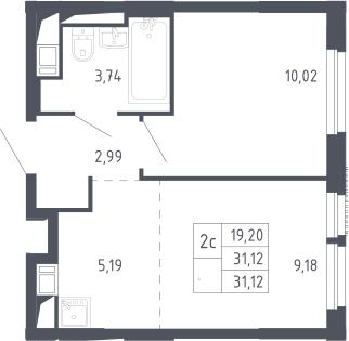 2Е-комнатная, 31.12 м²– 2