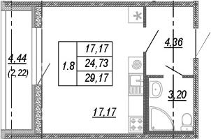 Студия, 24.73 м², от 3 этажа