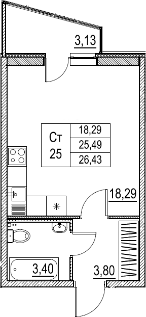 Студия, 26.43 м²