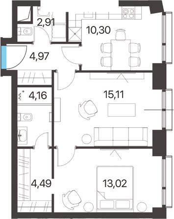 2-комнатная квартира, 54.96 м², 13 этаж – Планировка
