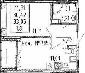 1-к.кв, 33.05 м²