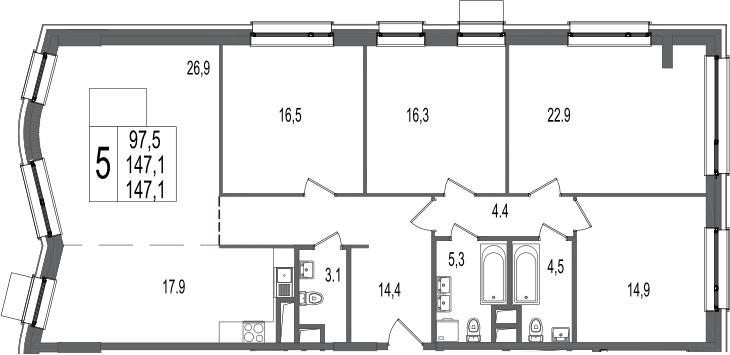 5-комнатная, 147.1 м²– 2