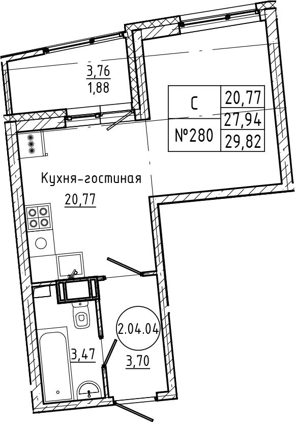 Студия, 29.82 м²– 2
