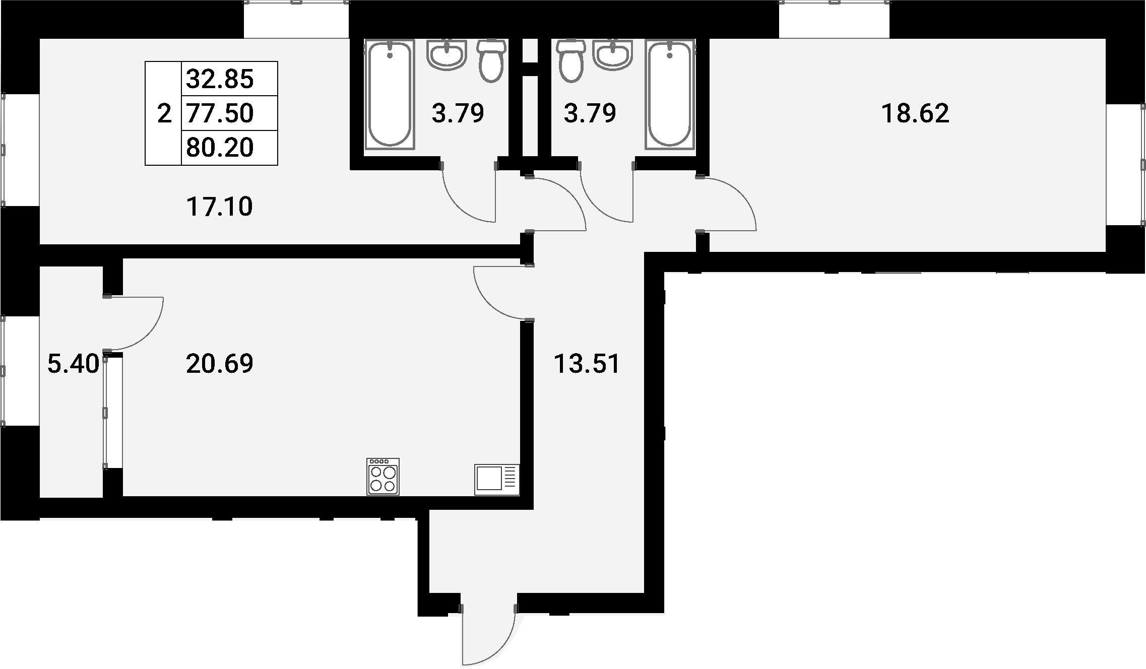 3Е-к.кв, 80.2 м², 18 этаж