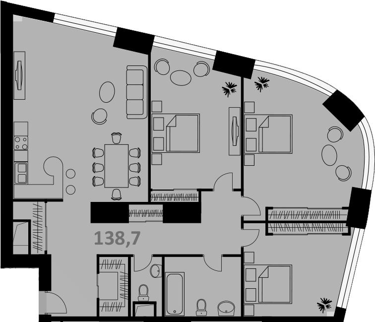 Своб. план., 138 м², 52 этаж
