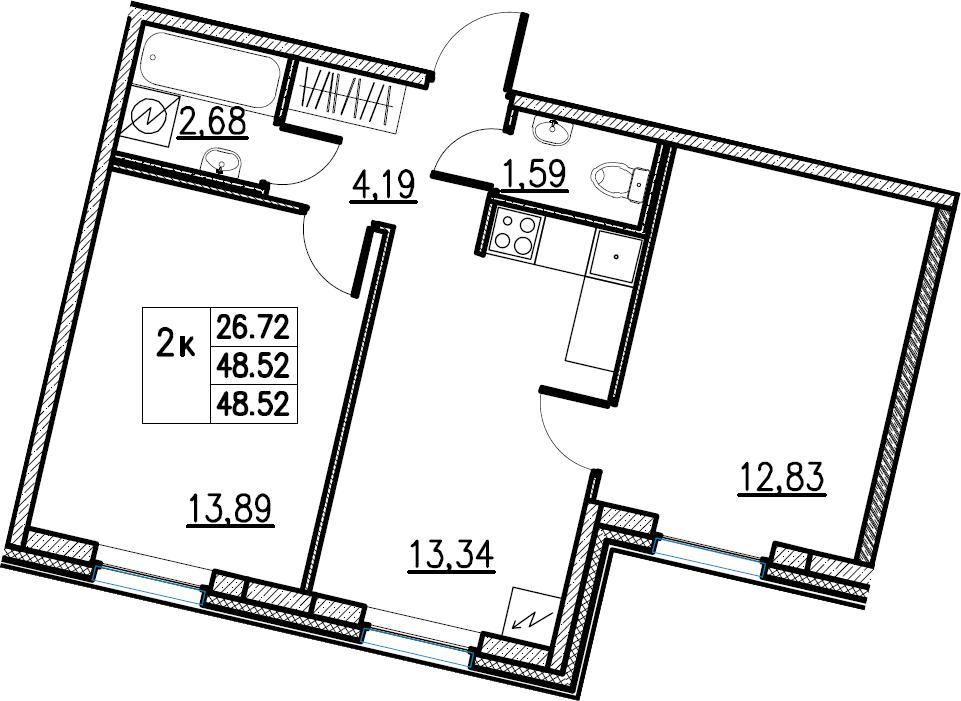 2-комнатная, 48.52 м²– 2