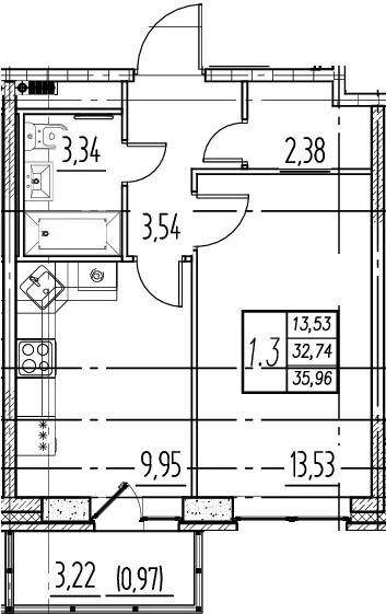 1-комнатная квартира, 32.74 м², 14 этаж – Планировка