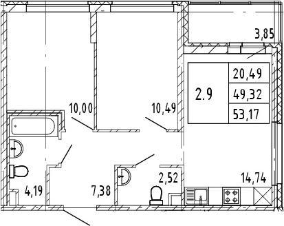 3Е-к.кв, 49.32 м², 2 этаж