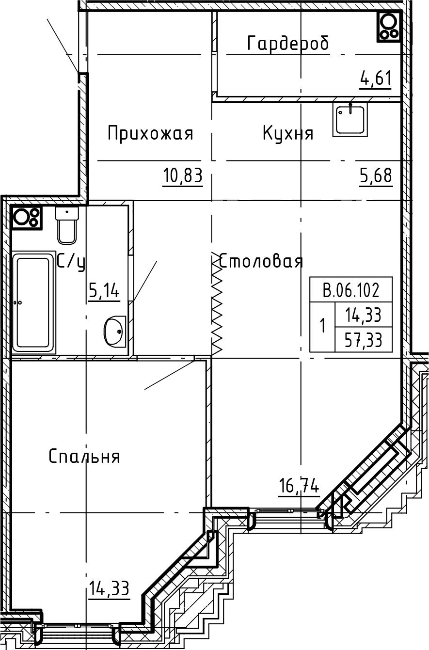 2Е-комнатная, 57.33 м²– 2