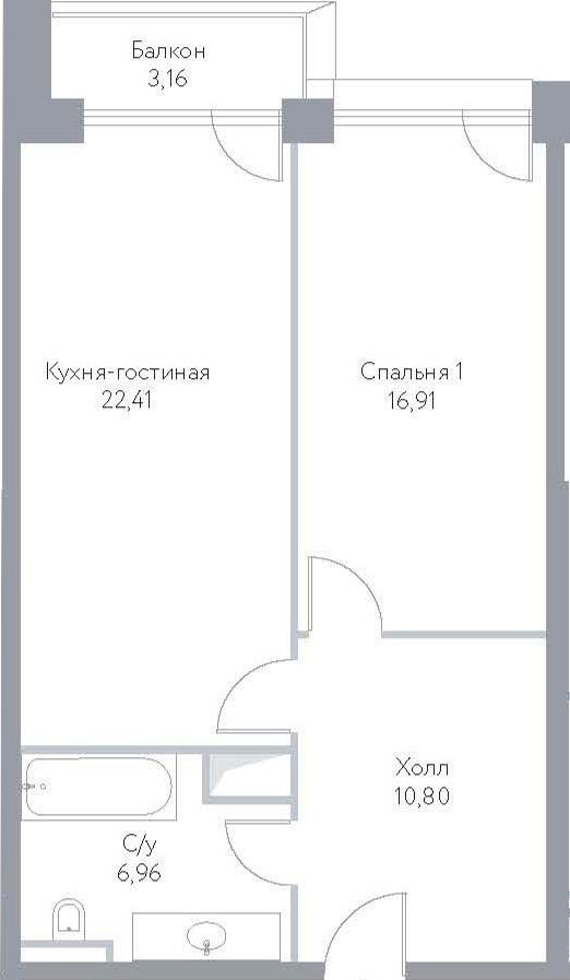 2Е-к.кв, 60.24 м², 15 этаж