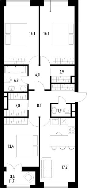 4Е-к.кв, 90 м², 2 этаж