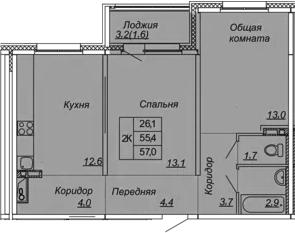 2-к.кв, 57 м², 2 этаж