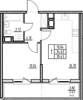2-к.кв (евро), 42.24 м²