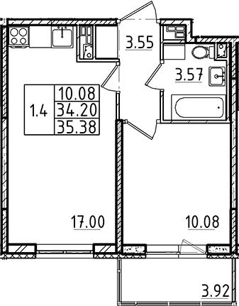 2Е-к.кв, 34.2 м², 4 этаж