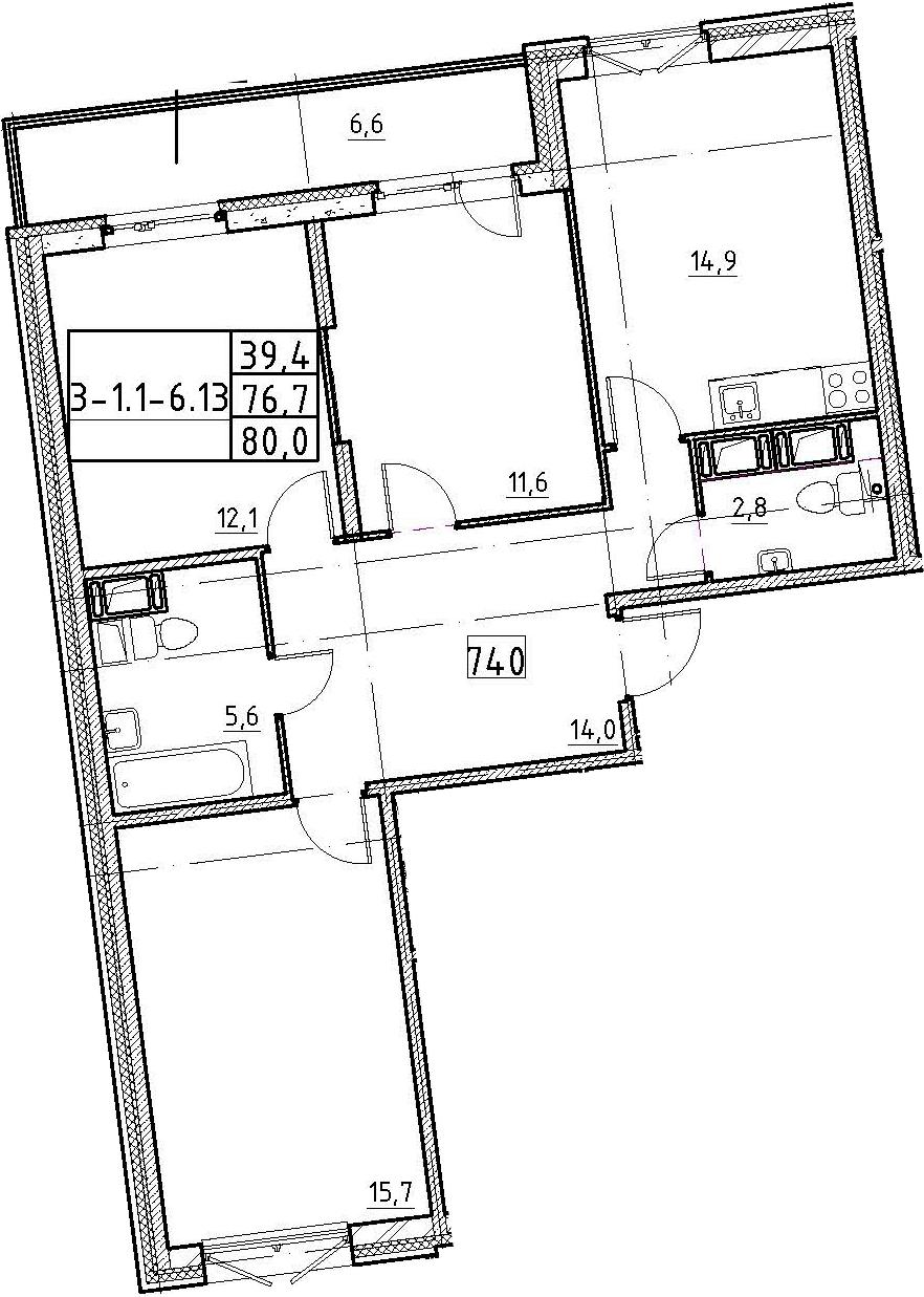 3-к.кв, 80 м²