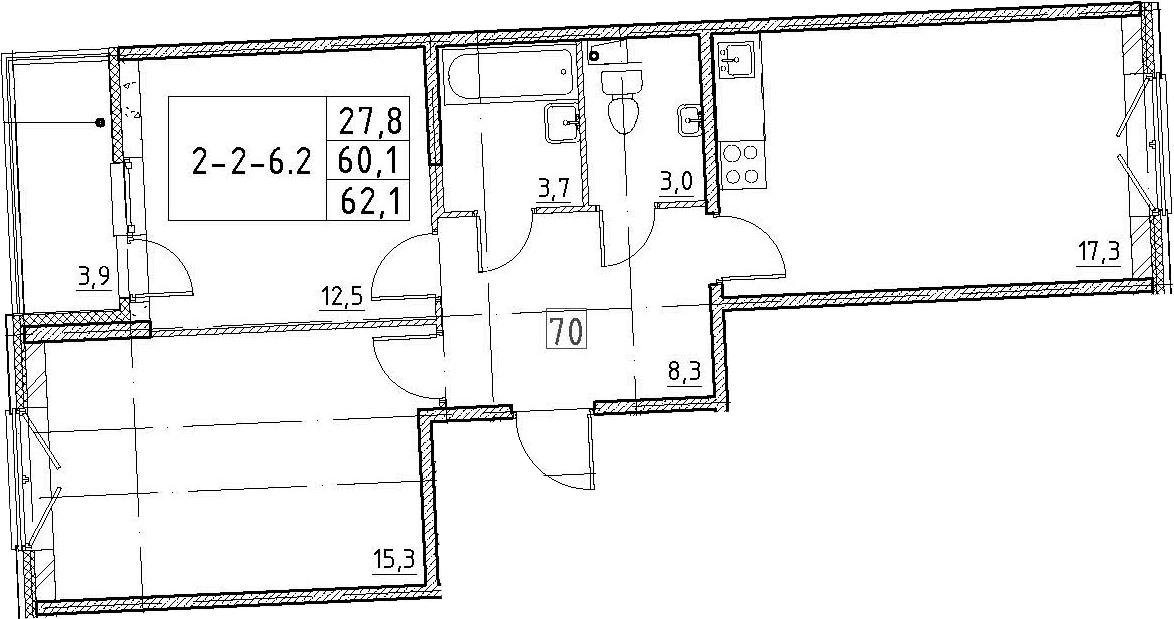 3Е-к.кв, 62.1 м², 2 этаж