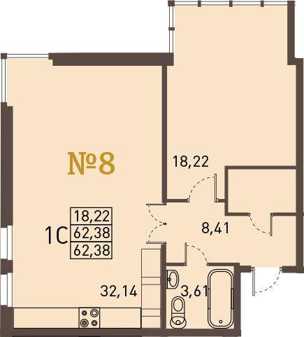 2-к.кв (евро), 62.38 м²
