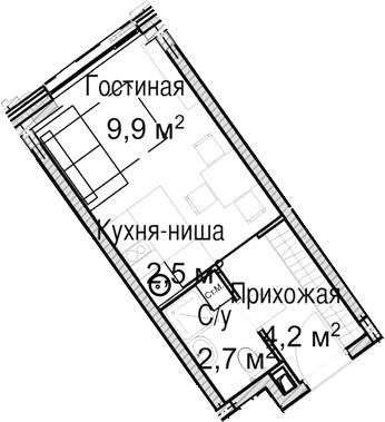 Студия, 19.3 м²– 2
