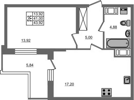 2-к.кв (евро), 46.84 м²