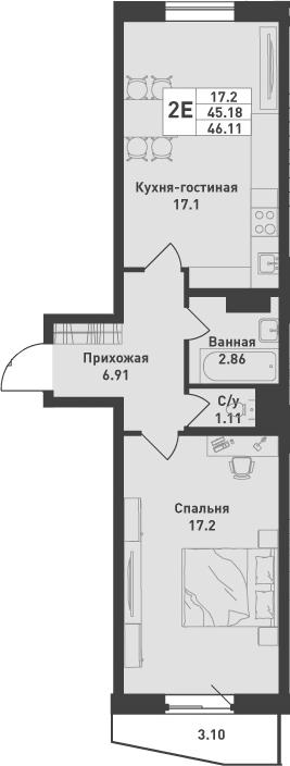 2Е-к.кв, 46.11 м², от 4 этажа