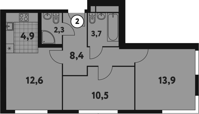 3-к.кв (евро), 56.3 м²