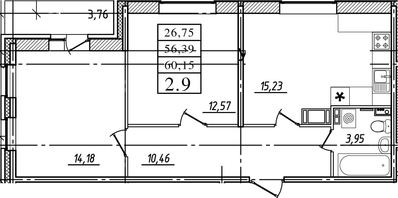 3-к.кв (евро), 60.15 м²