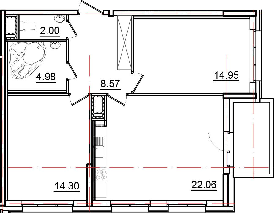 3Е-комнатная, 69.06 м²– 2