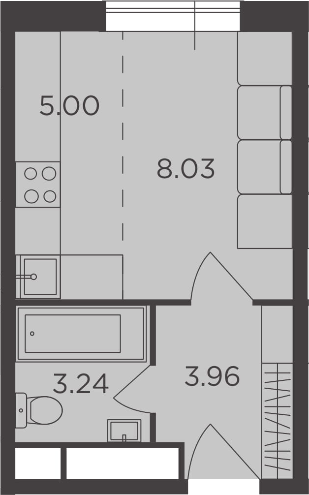 Студия, 20.23 м²