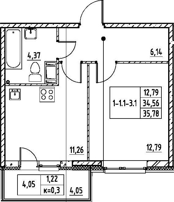 1-комнатная, 35.78 м²– 2