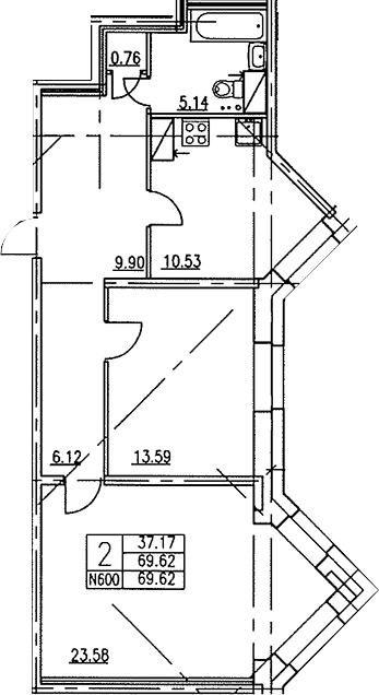 2-к.кв, 69.3 м²
