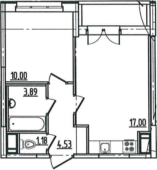 2Е-к.кв, 38.1 м², 5 этаж