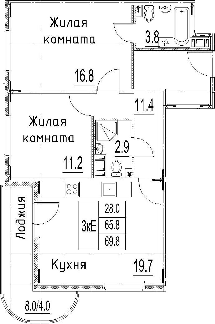 3Е-к.кв, 69.8 м²