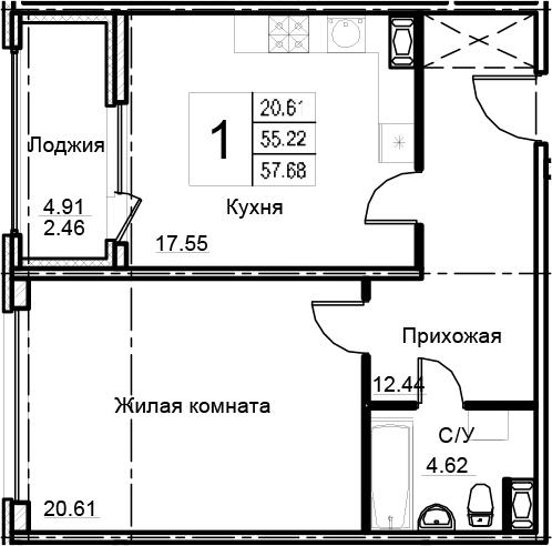 2Е-к.кв, 57.68 м², 16 этаж
