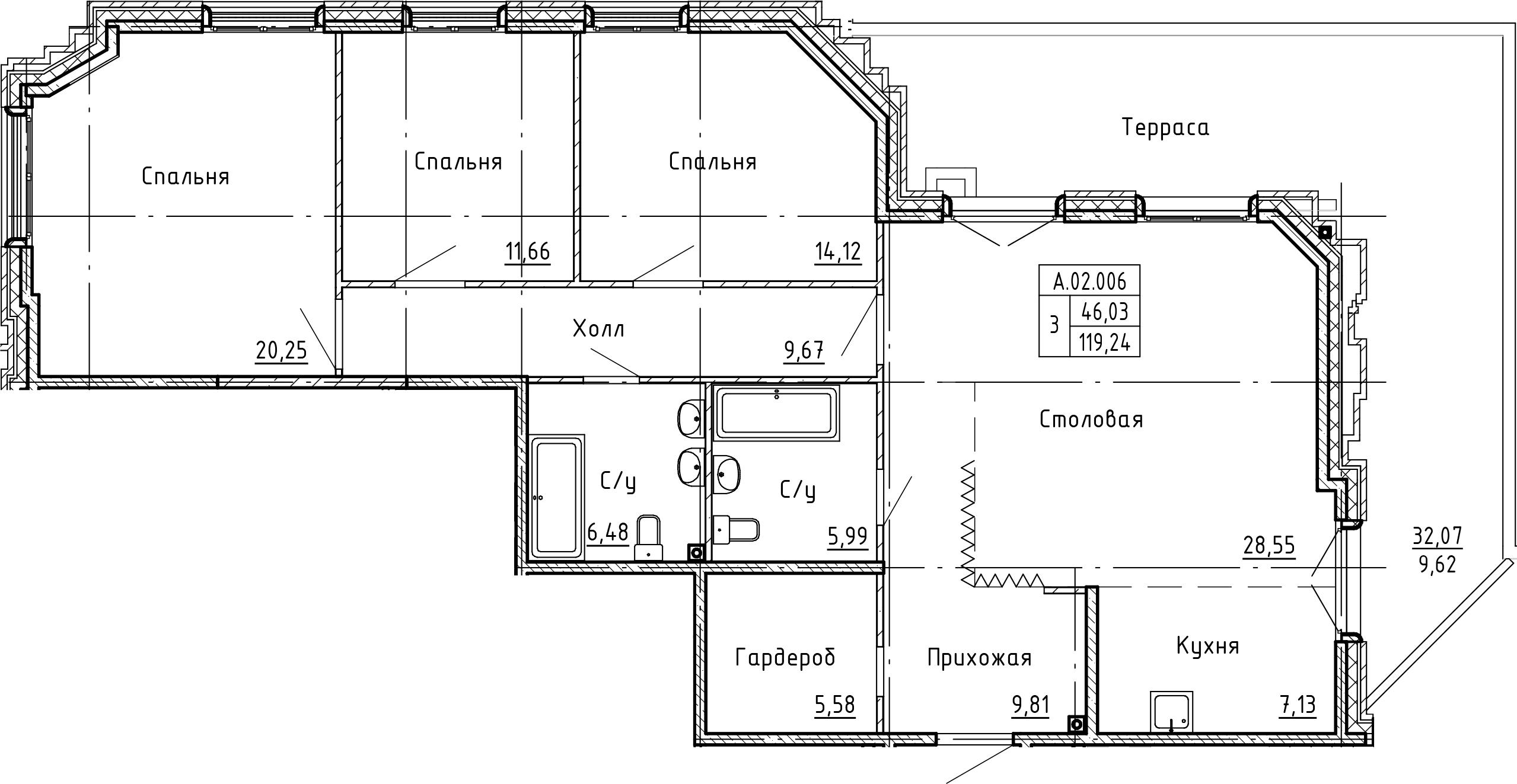 4Е-комнатная, 128.86 м²– 2