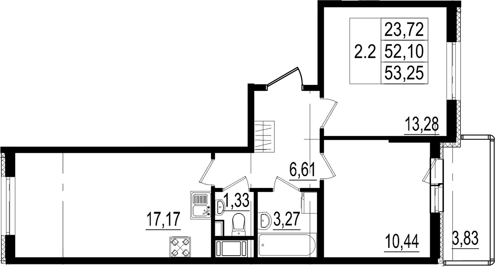 3Е-к.кв, 52.1 м²