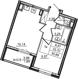2Е-к.кв, 35.69 м²