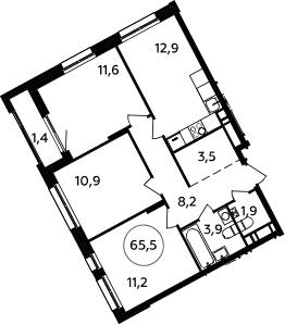 3-к.кв, 65.5 м²