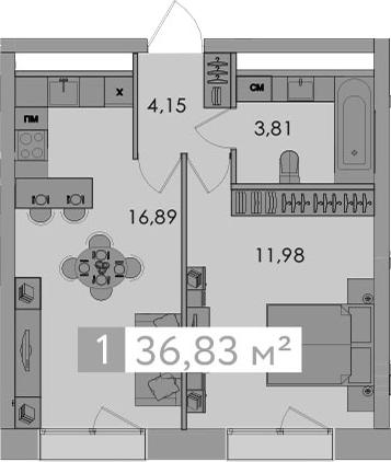 2-к.кв (евро), 36.83 м²