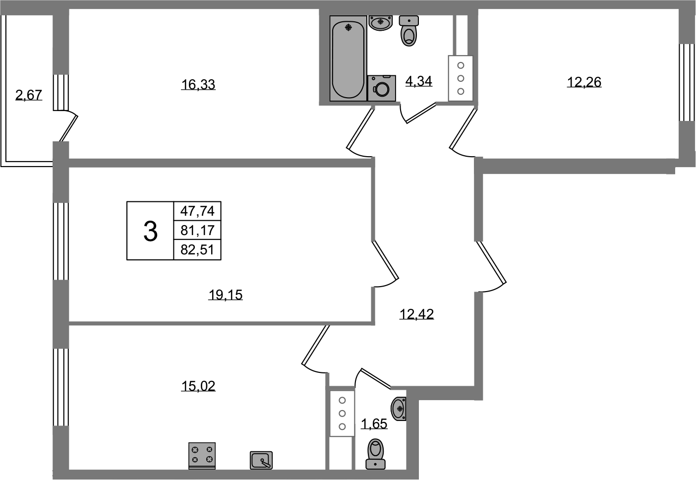 3-к.кв, 83.85 м²