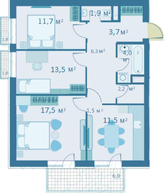 3-комнатная, 72.3 м²– 2
