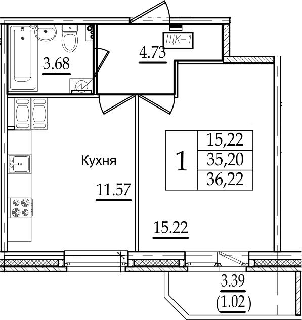 1-комнатная, 36.22 м²– 2