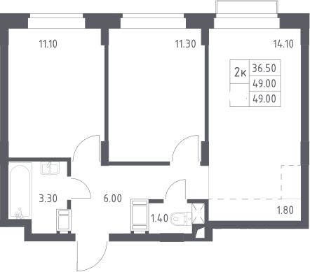 3Е-к.кв, 49 м², 6 этаж