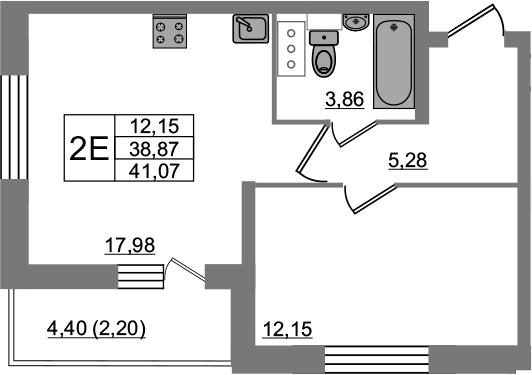 2Е-комнатная, 41.47 м²– 2