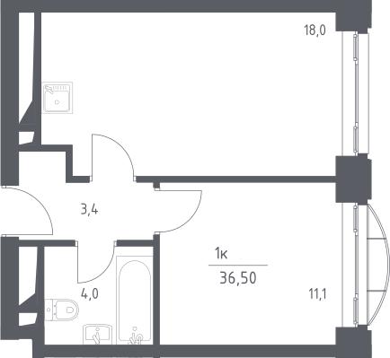 2Е-к.кв, 36.5 м², 3 этаж