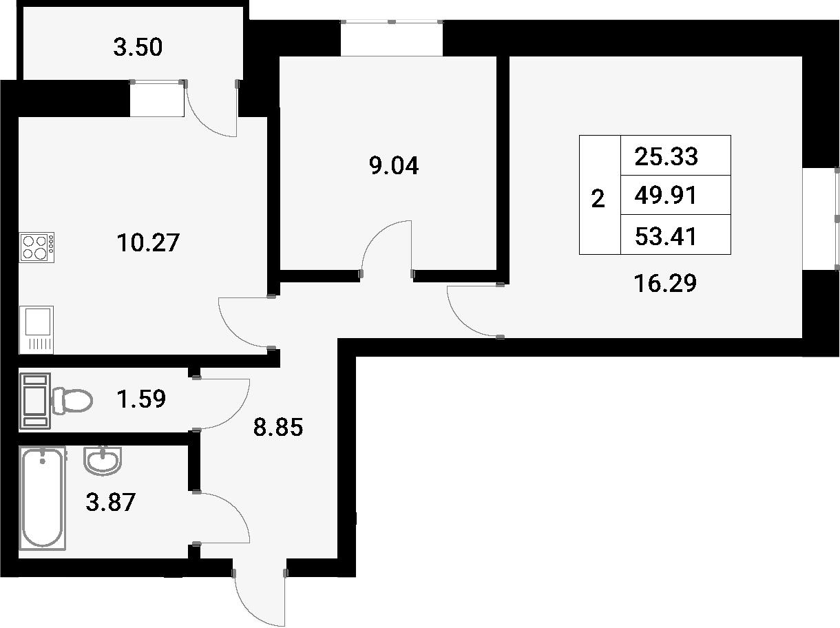 2-к.кв, 53.41 м²