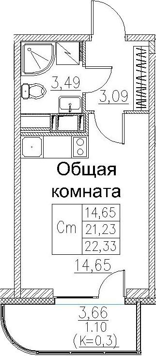 Студия, 22.33 м²