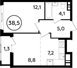 2Е-к.кв, 38.5 м², от 10 этажа
