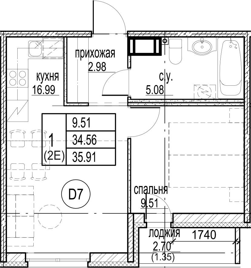2Е-комнатная, 35.91 м²– 2