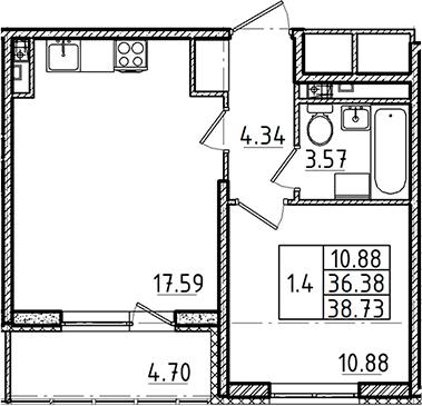 2Е-к.кв, 36.38 м², 3 этаж