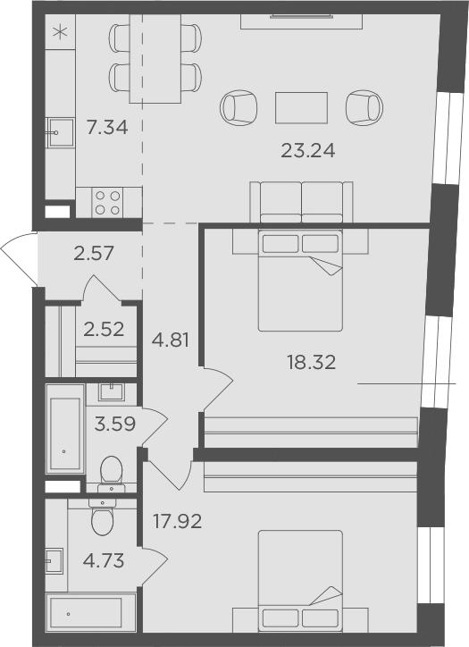 3Е-к.кв, 85.04 м², 11 этаж